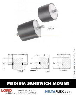 Rubber-Parts-Catalog-Delta-Flex-LORD-Flex-Bolt-Medium-Sandwich-Mounts-J-5425