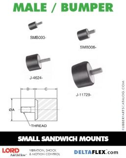 Rubber-Parts-Catalog-Delta-Flex-LORD-Flex-Bolt-Small-Sandwich-Mounts-Male-Bumper