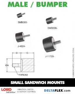 Rubber-Parts-Catalog-Delta-Flex-LORD-Flex-Bolt-Small-Sandwich-Mounts-Male-Bumper