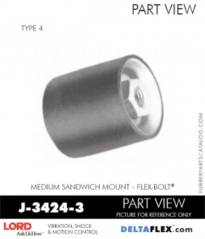 Rubber-Parts-Catalog-Delta-Flex-LORD-Flex-Bolt-Medium-Sandwich-Mounts-Femal-Female-J-3424-3